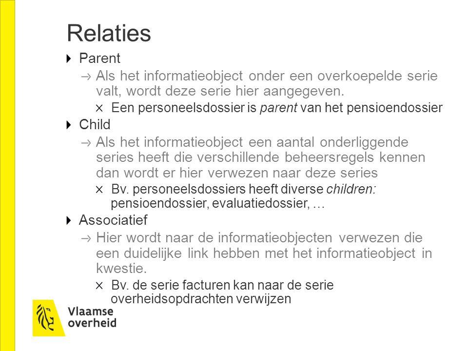 Relaties Parent Als het informatieobject onder een overkoepelde serie valt, wordt deze serie hier aangegeven.