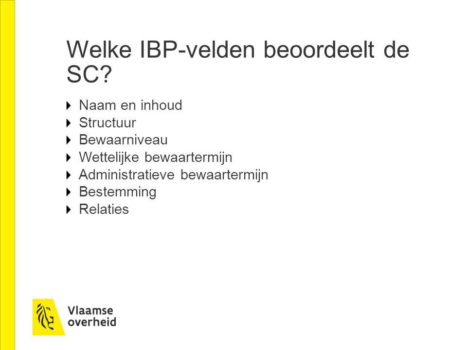 Welke IBP-velden beoordeelt de SC.