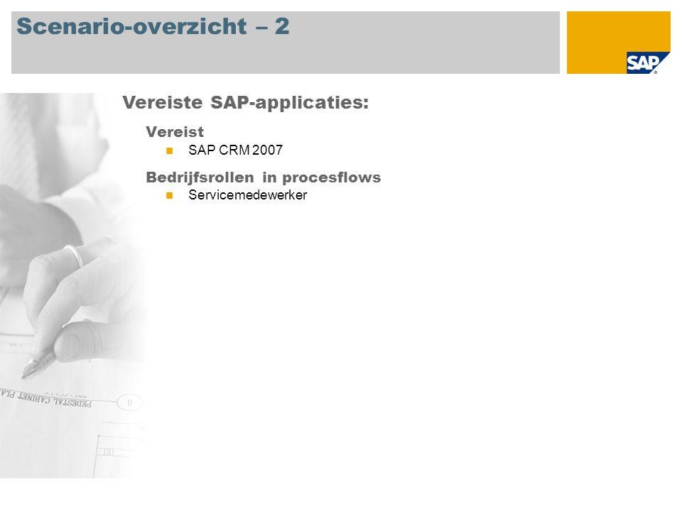 Scenario-overzicht – 2 Vereist SAP CRM 2007 Bedrijfsrollen in procesflows Servicemedewerker Vereiste SAP-applicaties:
