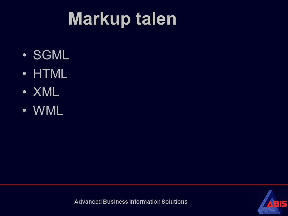 Advanced Business Information Solutions HTML HTML definieert: de plaatsing en opmaak van de elementen op een pagina; de stijl van de tekst in kleur, grootte en type; de inhoud van het document; de hypertekstlinks naar andere pagina's.