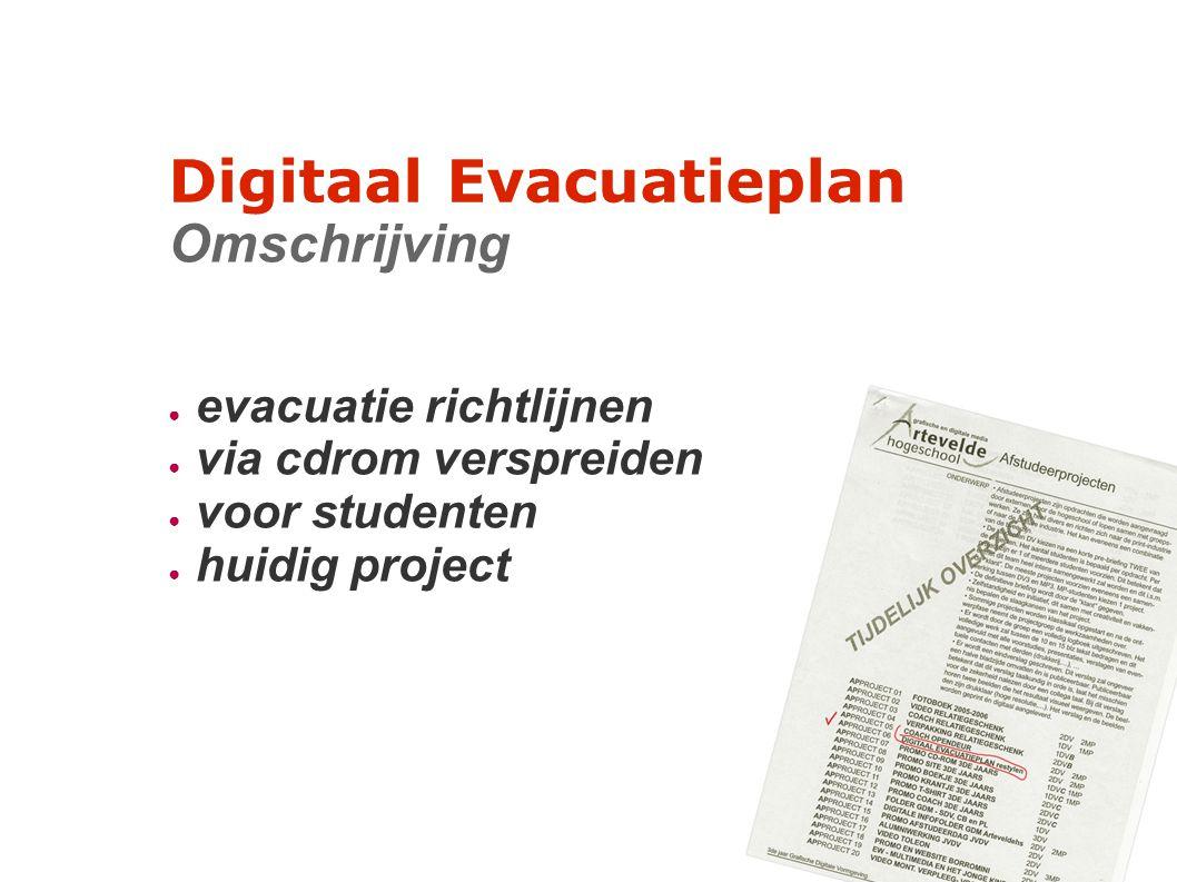 Digitaal Evacuatieplan Omschrijving ● evacuatie richtlijnen ● via cdrom verspreiden ● voor studenten ● huidig project