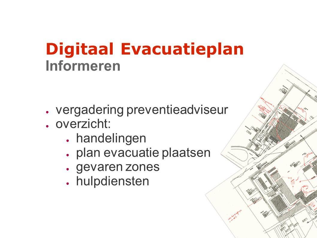Digitaal Evacuatieplan Informeren ● vergadering preventieadviseur ● overzicht: ● handelingen ● plan evacuatie plaatsen ● gevaren zones ● hulpdiensten