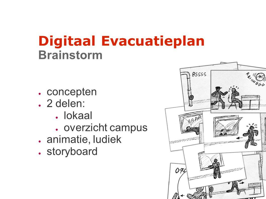 Digitaal Evacuatieplan Brainstorm ● concepten ● 2 delen: ● lokaal ● overzicht campus ● animatie, ludiek ● storyboard