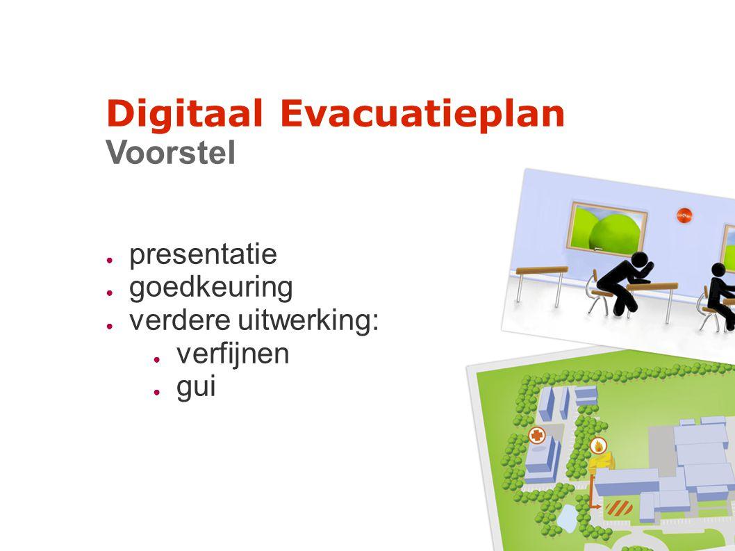 Digitaal Evacuatieplan Voorstel ● presentatie ● goedkeuring ● verdere uitwerking: ● verfijnen ● gui