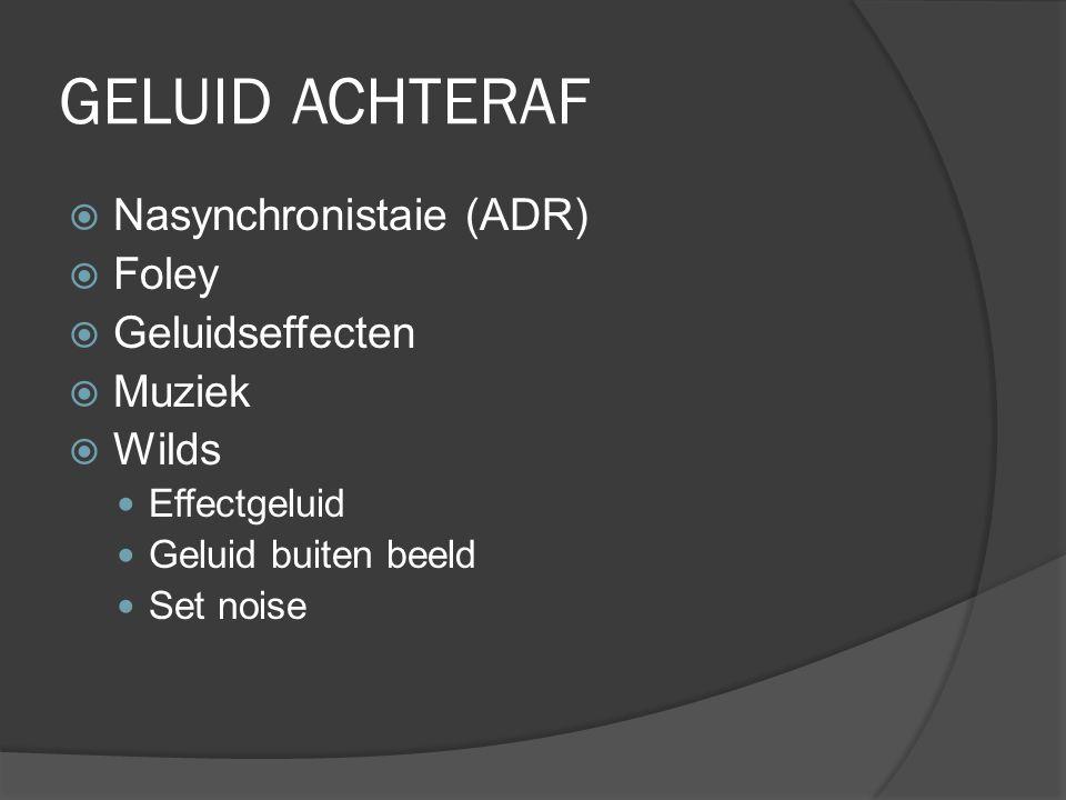 GELUID ACHTERAF  Nasynchronistaie (ADR)  Foley  Geluidseffecten  Muziek  Wilds Effectgeluid Geluid buiten beeld Set noise