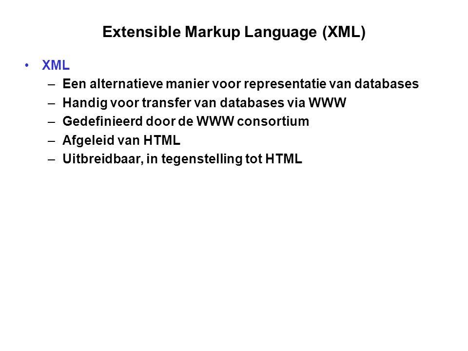 Extensible Markup Language (XML) XML –Een alternatieve manier voor representatie van databases –Handig voor transfer van databases via WWW –Gedefinieerd door de WWW consortium –Afgeleid van HTML –Uitbreidbaar, in tegenstelling tot HTML