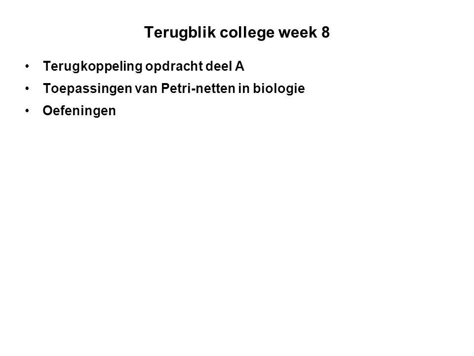 Terugblik college week 8 Terugkoppeling opdracht deel A Toepassingen van Petri-netten in biologie Oefeningen