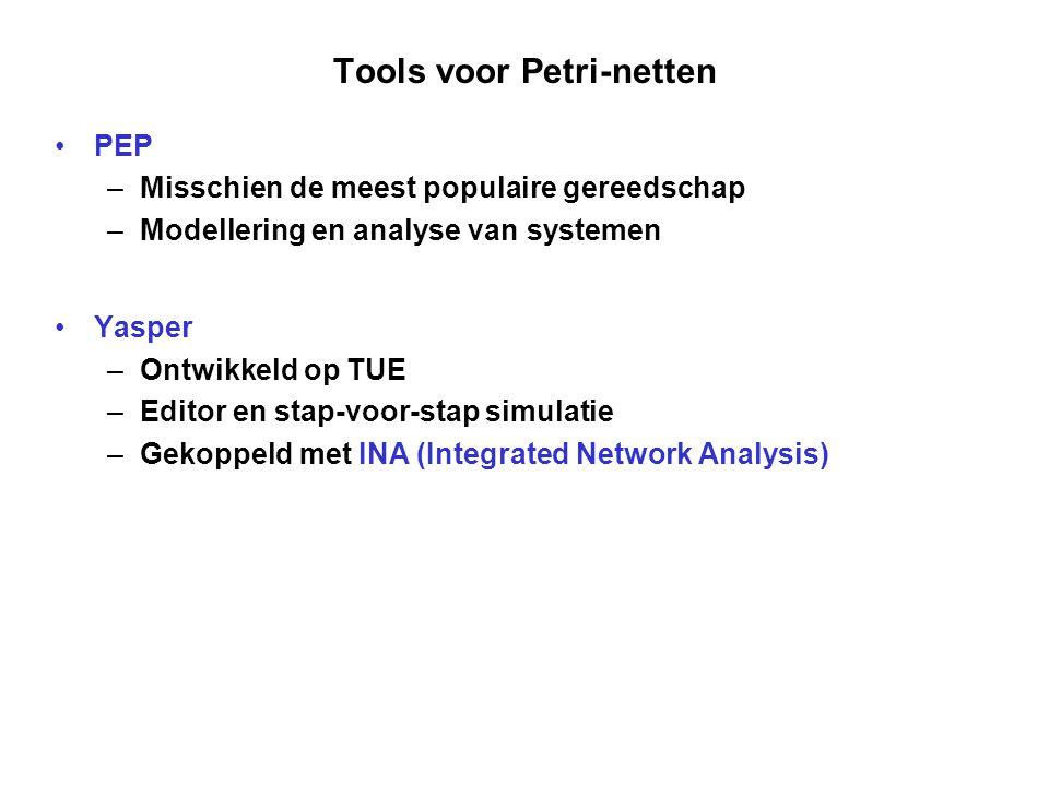 Tools voor Petri-netten PEP –Misschien de meest populaire gereedschap –Modellering en analyse van systemen Yasper –Ontwikkeld op TUE –Editor en stap-voor-stap simulatie –Gekoppeld met INA (Integrated Network Analysis)