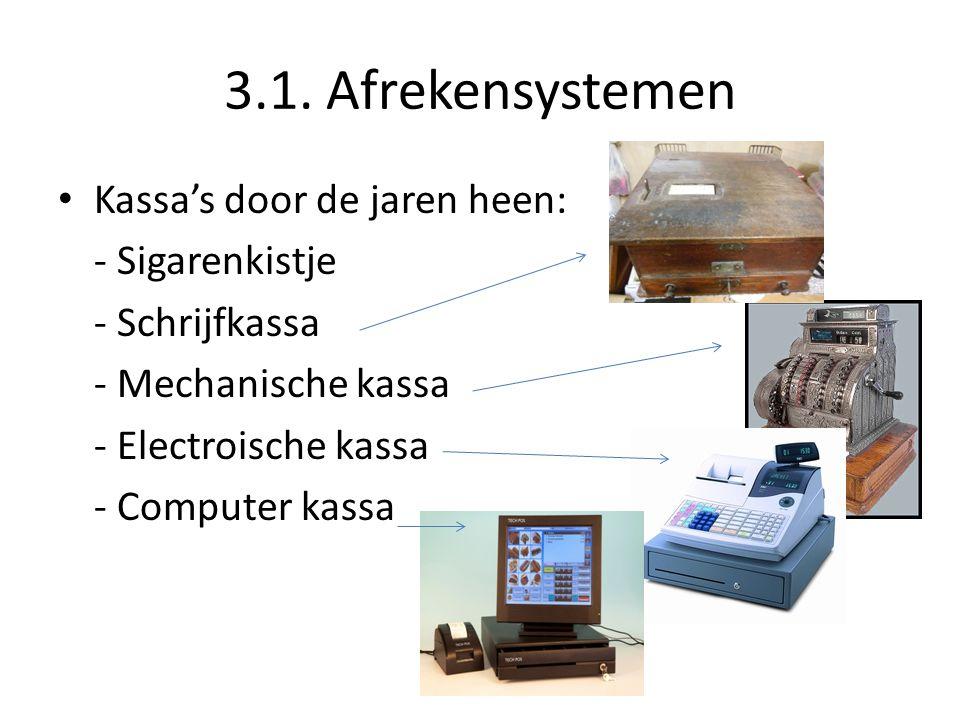 3.1. Afrekensystemen Kassa's door de jaren heen: - Sigarenkistje - Schrijfkassa - Mechanische kassa - Electroische kassa - Computer kassa
