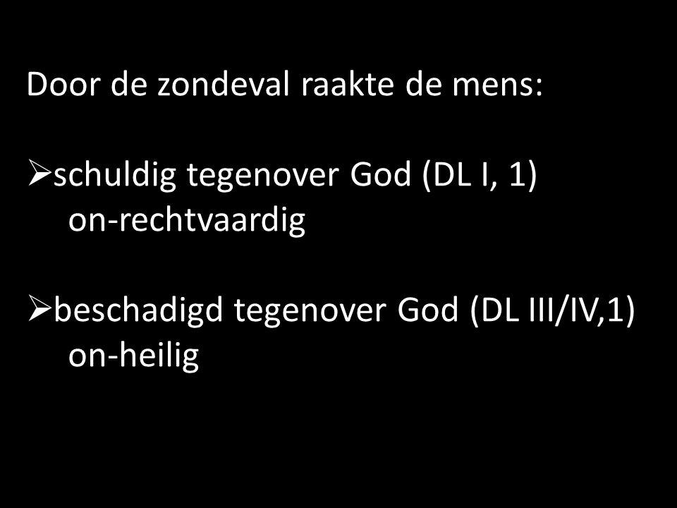 Door de zondeval raakte de mens:  schuldig tegenover God (DL I, 1) on-rechtvaardig  beschadigd tegenover God (DL III/IV,1) on-heilig