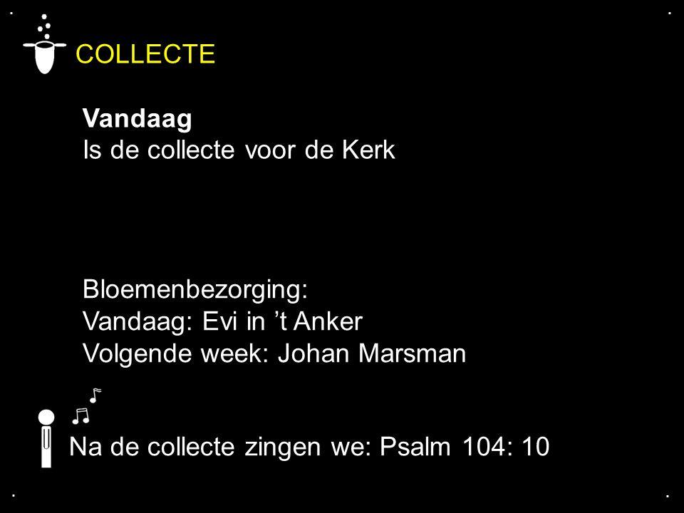 .... COLLECTE Vandaag Is de collecte voor de Kerk Na de collecte zingen we: Psalm 104: 10 Bloemenbezorging: Vandaag: Evi in 't Anker Volgende week: Jo