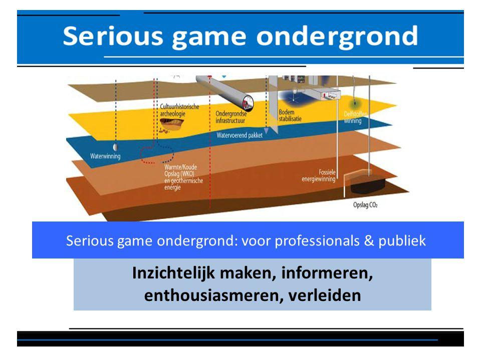 Inzichtelijk maken, informeren, enthousiasmeren, verleiden Serious game ondergrond: voor professionals & publiek