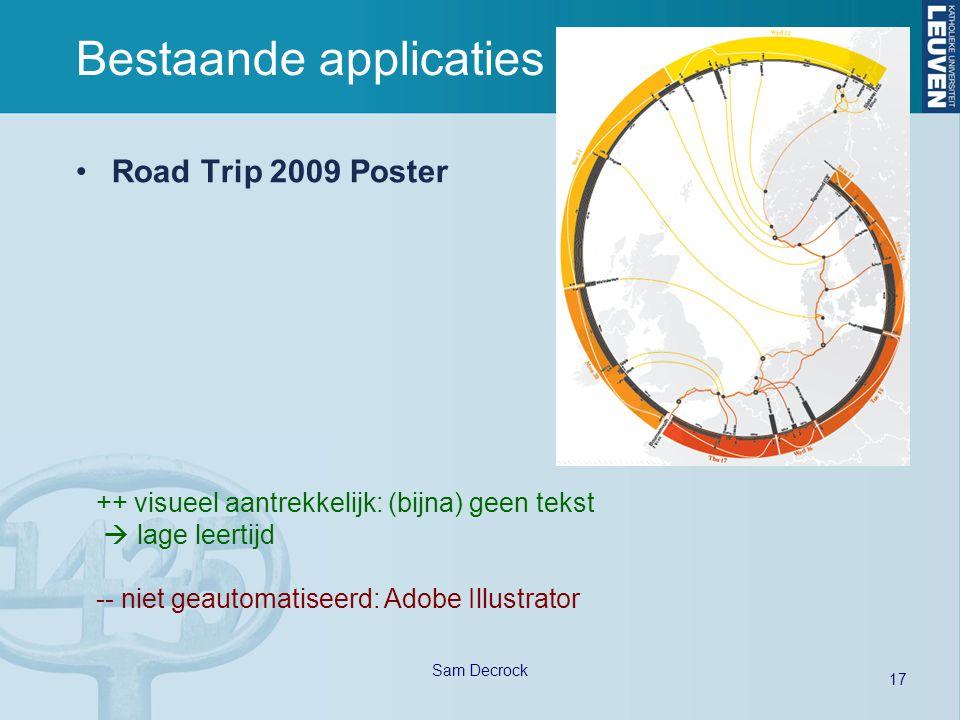17 Sam Decrock Bestaande applicaties Road Trip 2009 Poster ++ visueel aantrekkelijk: (bijna) geen tekst  lage leertijd -- niet geautomatiseerd: Adobe Illustrator
