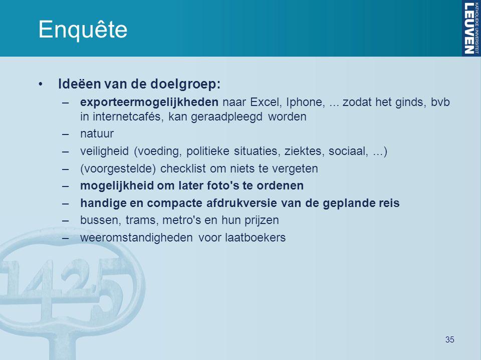 35 Enquête Ideëen van de doelgroep: –exporteermogelijkheden naar Excel, Iphone,... zodat het ginds, bvb in internetcafés, kan geraadpleegd worden –nat