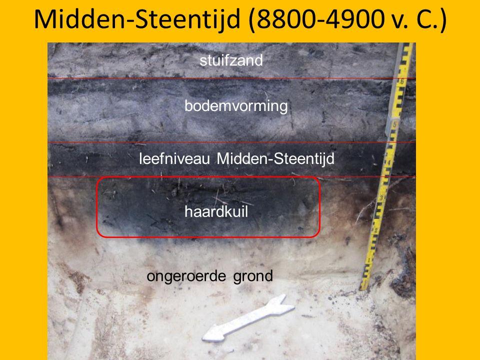 Midden-Steentijd (8800-4900 v. C.) haardkuil leefniveau Midden-Steentijd stuifzand bodemvorming ongeroerde grond