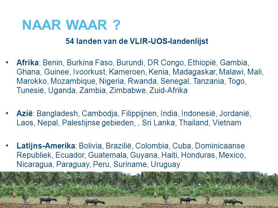 NAAR WAAR ? 54 landen van de VLIR-UOS-landenlijst Afrika: Benin, Burkina Faso, Burundi, DR Congo, Ethiopië, Gambia, Ghana, Guinee, Ivoorkust, Kameroen