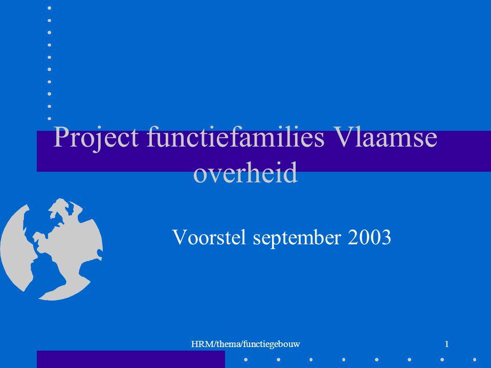HRM/thema/functiegebouw1 Project functiefamilies Vlaamse overheid Voorstel september 2003