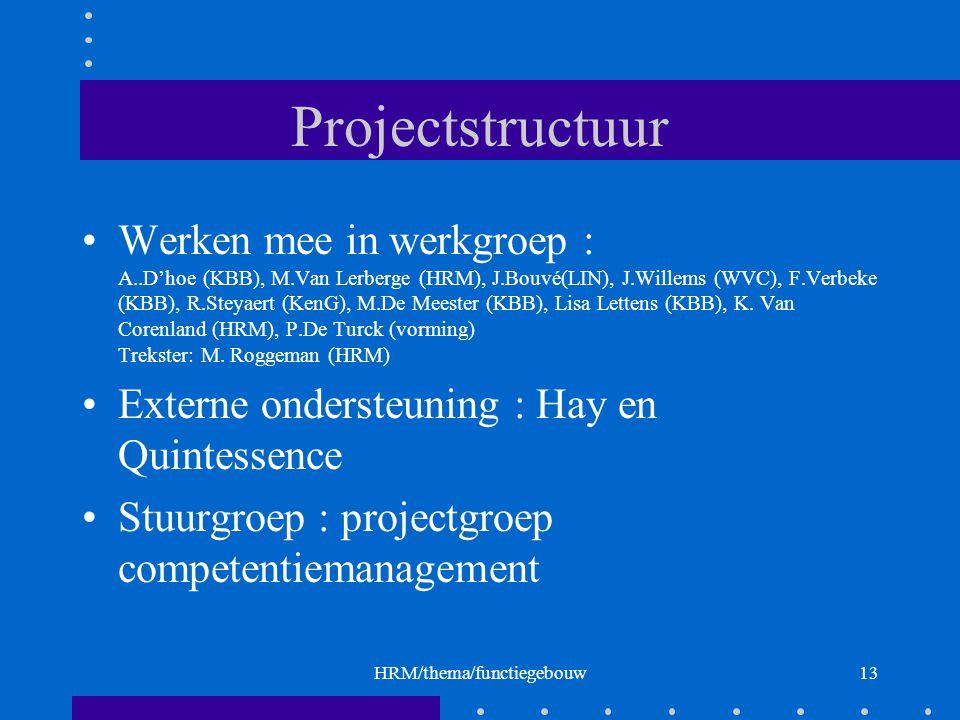 HRM/thema/functiegebouw13 Projectstructuur Werken mee in werkgroep : A..D'hoe (KBB), M.Van Lerberge (HRM), J.Bouvé(LIN), J.Willems (WVC), F.Verbeke (KBB), R.Steyaert (KenG), M.De Meester (KBB), Lisa Lettens (KBB), K.