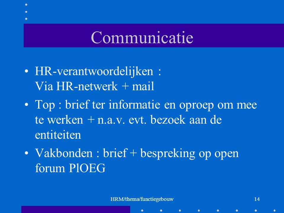 HRM/thema/functiegebouw14 Communicatie HR-verantwoordelijken : Via HR-netwerk + mail Top : brief ter informatie en oproep om mee te werken + n.a.v.