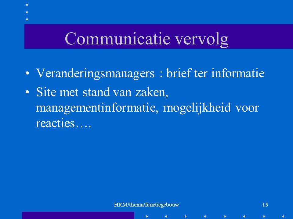 HRM/thema/functiegebouw15 Communicatie vervolg Veranderingsmanagers : brief ter informatie Site met stand van zaken, managementinformatie, mogelijkheid voor reacties….