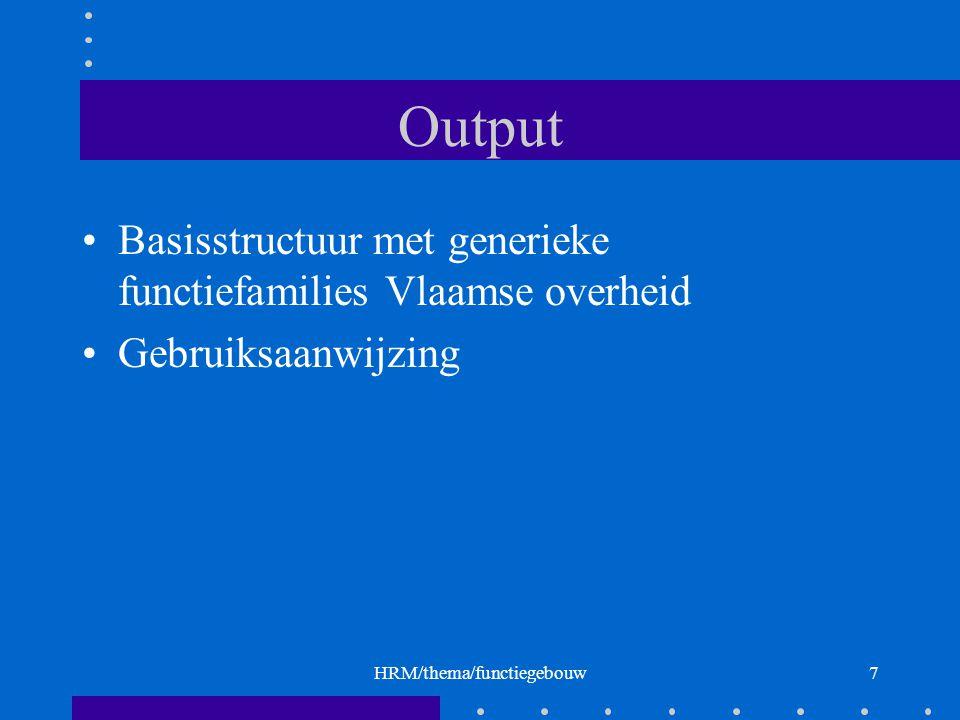 HRM/thema/functiegebouw7 Output Basisstructuur met generieke functiefamilies Vlaamse overheid Gebruiksaanwijzing
