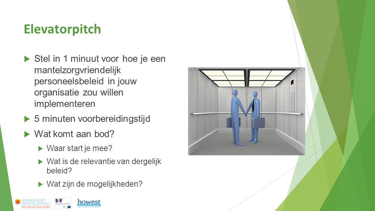 Elevatorpitch  Stel in 1 minuut voor hoe je een mantelzorgvriendelijk personeelsbeleid in jouw organisatie zou willen implementeren  5 minuten voorb