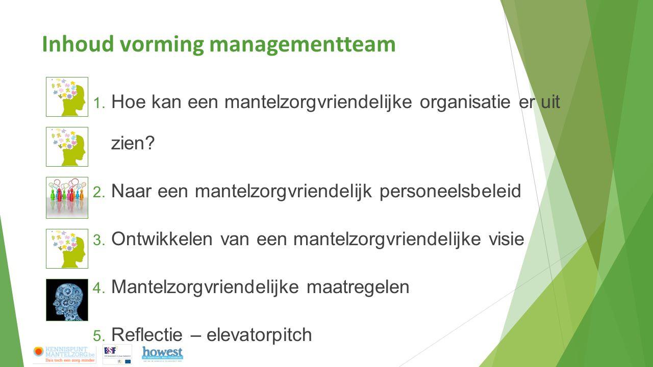 Inhoud vorming managementteam 1. Hoe kan een mantelzorgvriendelijke organisatie er uit zien? 2. Naar een mantelzorgvriendelijk personeelsbeleid 3. Ont