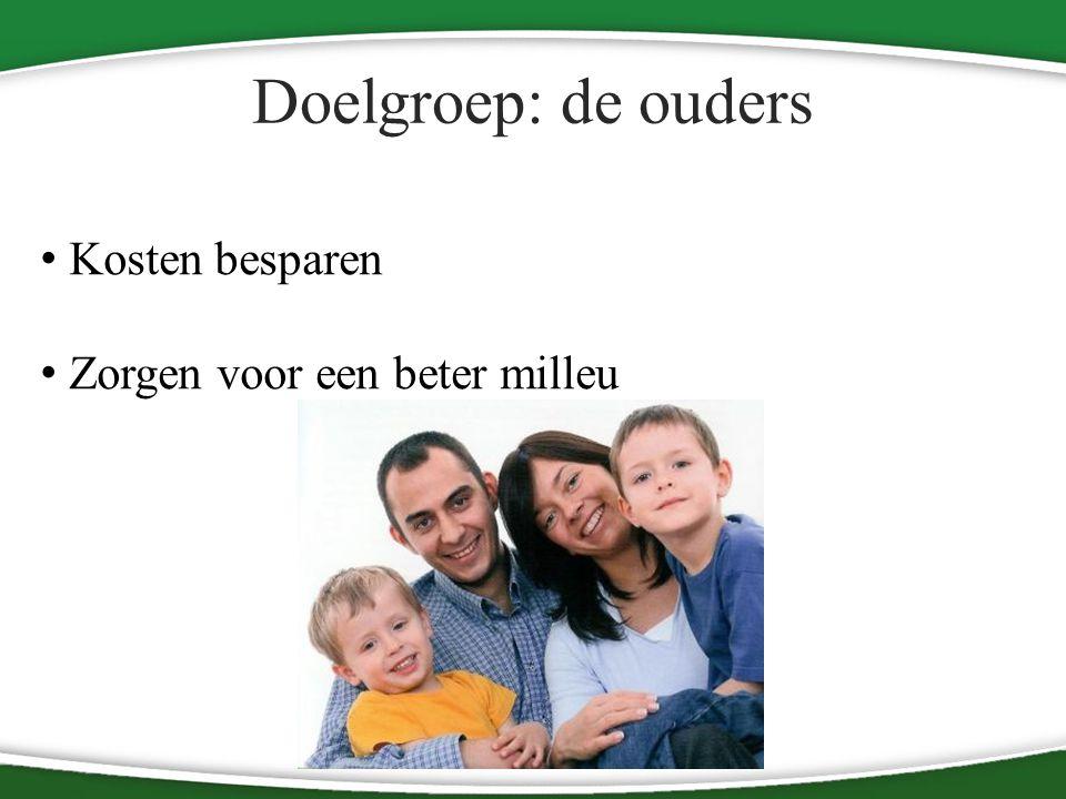 Doelgroep: de ouders Kosten besparen Zorgen voor een beter milleu