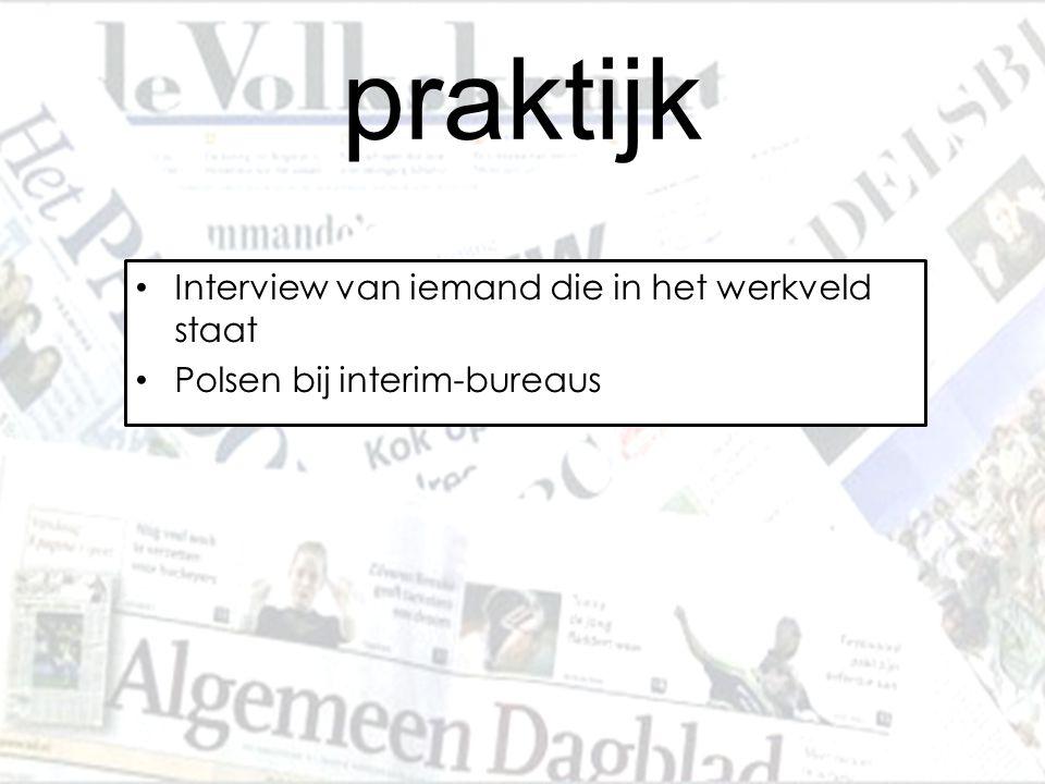 praktijk Interview van iemand die in het werkveld staat Polsen bij interim-bureaus