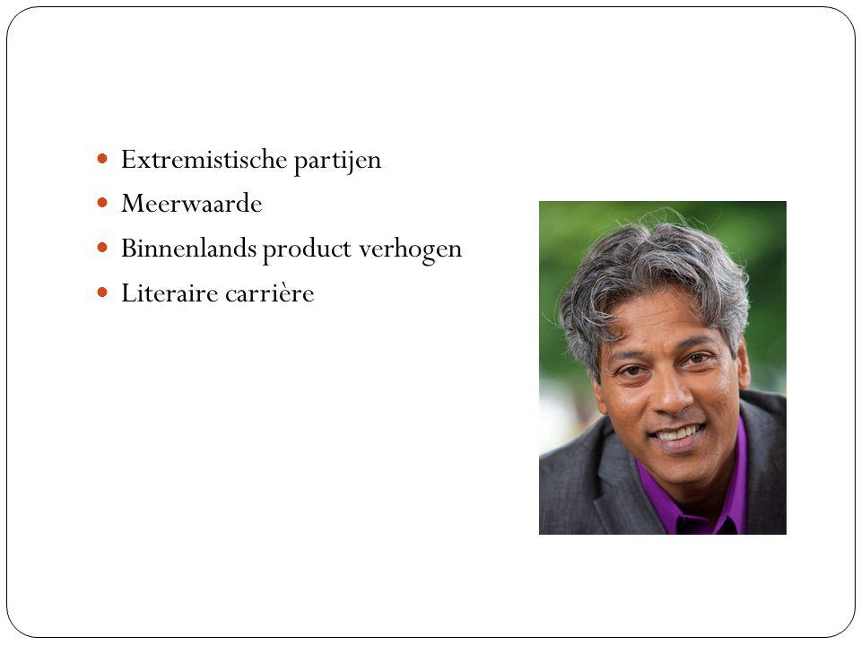 Extremistische partijen Meerwaarde Binnenlands product verhogen Literaire carrière