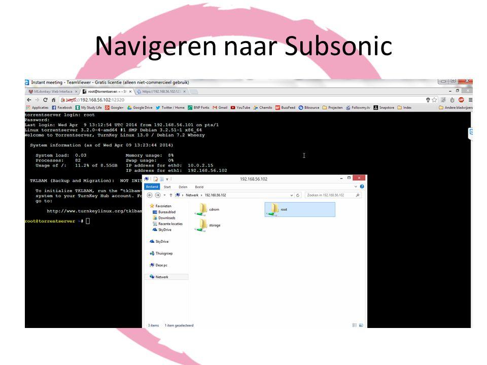 Navigeren naar Subsonic