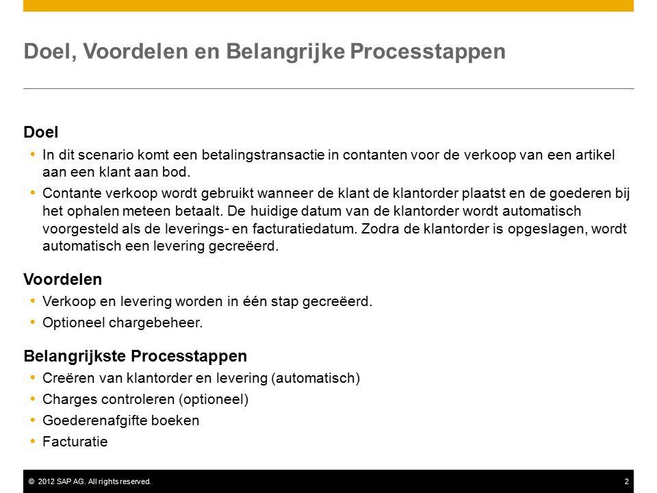 ©2012 SAP AG. All rights reserved.2 Doel, Voordelen en Belangrijke Processtappen Doel  In dit scenario komt een betalingstransactie in contanten voor