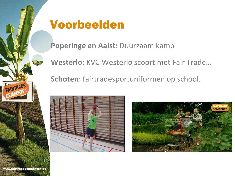 Voorbeelden Poperinge en Aalst: Duurzaam kamp Westerlo: KVC Westerlo scoort met Fair Trade… Schoten: fairtradesportuniformen op school.