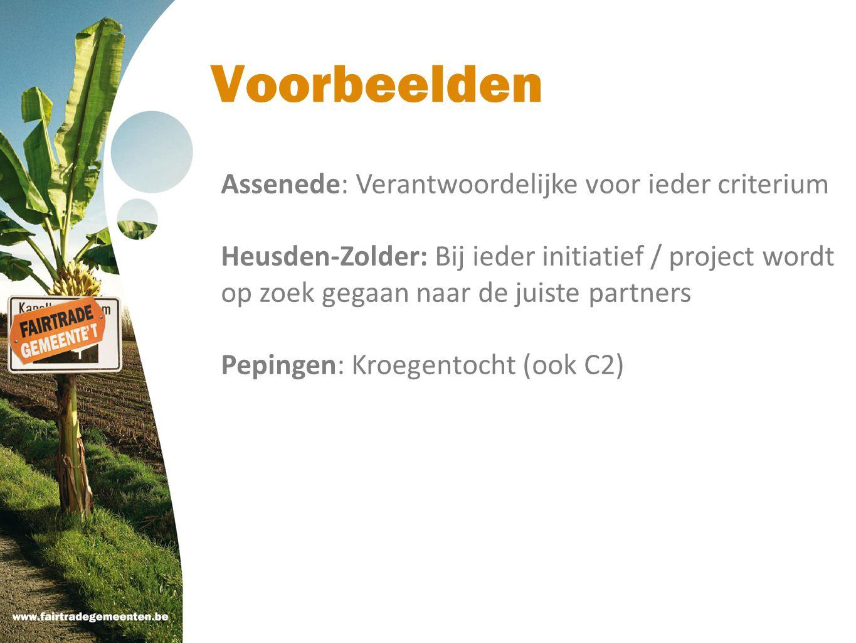 Voorbeelden Assenede: Verantwoordelijke voor ieder criterium Heusden-Zolder: Bij ieder initiatief / project wordt op zoek gegaan naar de juiste partne