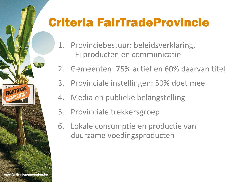 Criteria FairTradeProvincie 1.Provinciebestuur: beleidsverklaring, FTproducten en communicatie 2.Gemeenten: 75% actief en 60% daarvan titel 3.Provinci
