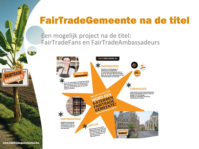 FairTradeGemeente na de titel Een mogelijk project na de titel: FairTradeFans en FairTradeAmbassadeurs