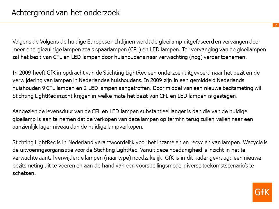3 Doelstelling van het onderzoek Ten behoeve van het huidige en toekomstige beleid wenst Stichting LighRec Nederland inzicht te krijgen in:  Het actuele bezit van LED-, CFL- en overige lampen bij de Nederlandse huishoudens.