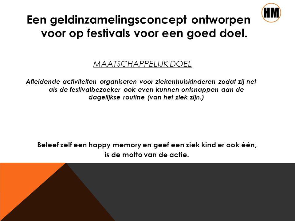 MAATSCHAPPELIJK DOEL Een geldinzamelingsconcept ontworpen voor op festivals voor een goed doel.