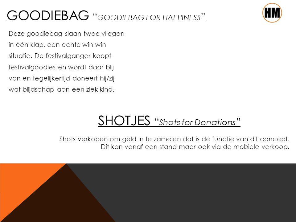 GOODIEBAG GOODIEBAG FOR HAPPINESS Deze goodiebag slaan twee vliegen in één klap, een echte win-win situatie.