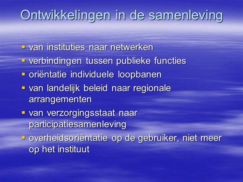 Ontwikkelingen in de samenleving  van instituties naar netwerken  verbindingen tussen publieke functies  oriëntatie individuele loopbanen  van lan
