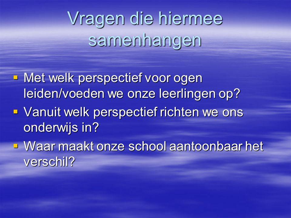 Vragen die hiermee samenhangen  Met welk perspectief voor ogen leiden/voeden we onze leerlingen op?  Vanuit welk perspectief richten we ons onderwij