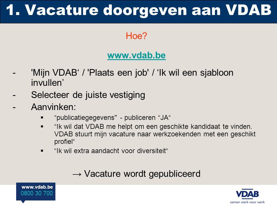 www.vdab.be 0800 30 700 1. Vacature doorgeven aan VDAB Hoe.