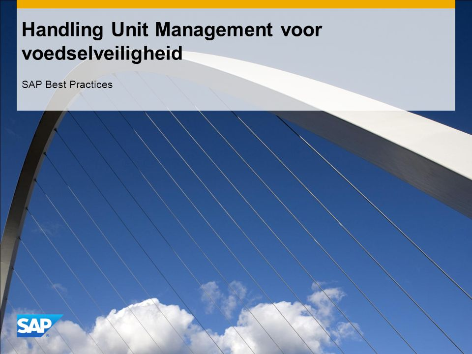 Handling Unit Management voor voedselveiligheid SAP Best Practices