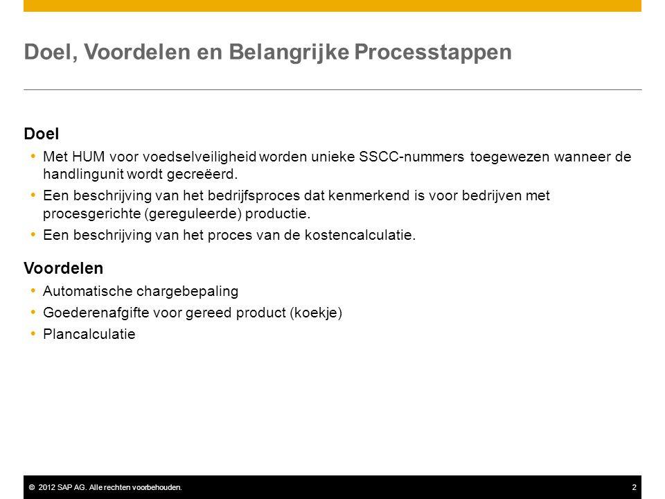 ©2012 SAP AG. Alle rechten voorbehouden.2 Doel, Voordelen en Belangrijke Processtappen Doel  Met HUM voor voedselveiligheid worden unieke SSCC-nummer