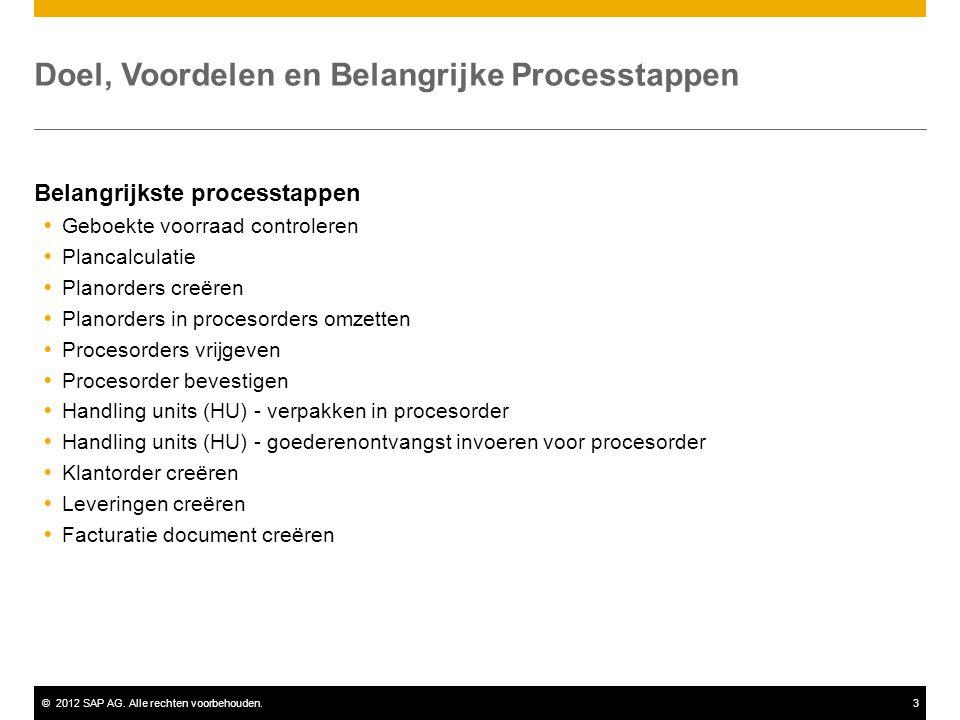 ©2012 SAP AG. Alle rechten voorbehouden.3 Doel, Voordelen en Belangrijke Processtappen Belangrijkste processtappen  Geboekte voorraad controleren  P