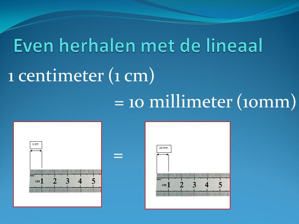 1 centimeter (1 cm) = 10 millimeter (10mm) =