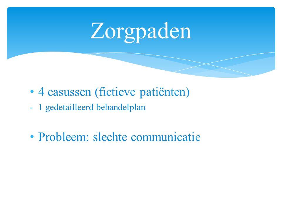 4 casussen (fictieve patiënten) -1 gedetailleerd behandelplan Probleem: slechte communicatie Zorgpaden