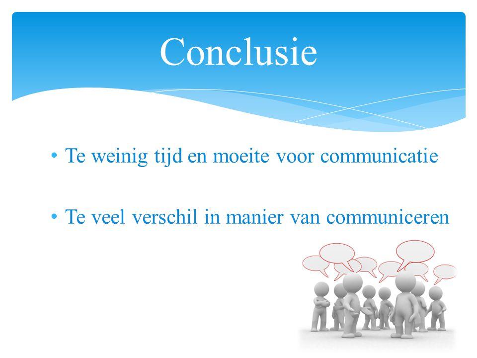 Te weinig tijd en moeite voor communicatie Te veel verschil in manier van communiceren Conclusie