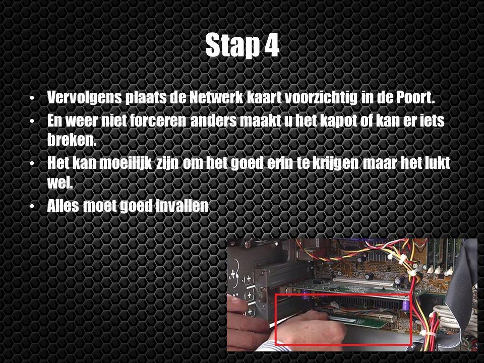 Stap 4 Vervolgens plaats de Netwerk kaart voorzichtig in de Poort. En weer niet forceren anders maakt u het kapot of kan er iets breken. Het kan moeil