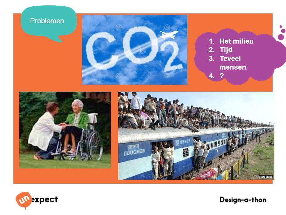 Design-a-Thon 16 Oktober 2014 Problemen 1.Het milieu 2.Tijd 3.Teveel mensen 4.